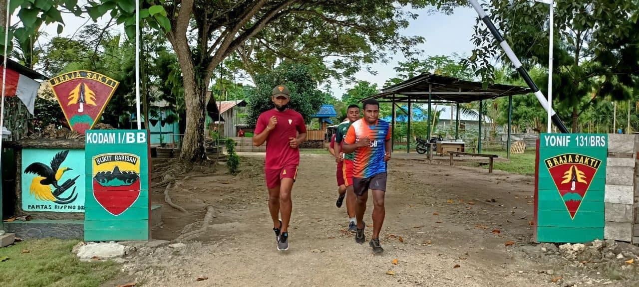 Satgas Pamtas Yonif 131/Brs Latih Pemuda Papua Bantu Wujudkan Cita-Cita Menjadi Prajurit TNI