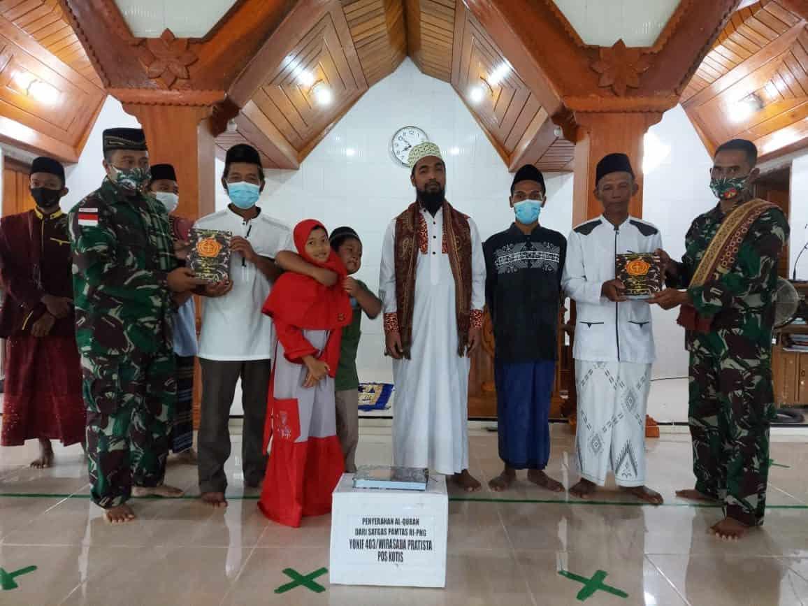 Rayakan Idul Adha di Perbatasan, Tidak Surutkan Semangat dan Moril Prajurit Satgas Pamtas Yonif 403/WP