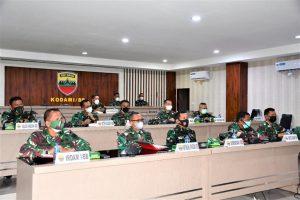 Pangdam I/BB Vicon Bersama Panglima TNI Bahas Pencegahan dan Percepatan Penanganan Covid – 19