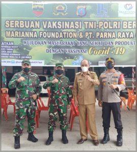 Kodam I/BB Bersama Poldasu Gelar Serbuan Vaksinasi TNI-Polri di Kabupaten Samosir
