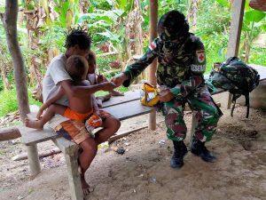 Tekan Penyebaran Covid-19 dan Malaria di Tapal Batas, Satgas Yonif 512/QY Terjun Langsung ke Masyarakat