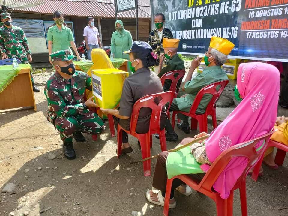 Sambut HUT Korem 023/KS dan HUT RI, Kodim 0211/TT Gelar Aksi Peduli Anak Yatim dan Veteran Pejuang