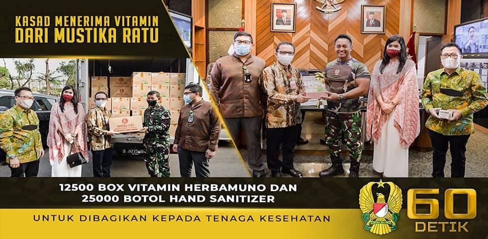 Kasad Menerima Vitamin dari PT. Mustika Ratu dan Membeli 10.000 Vitamin untuk Seluruh Nakes TNI AD