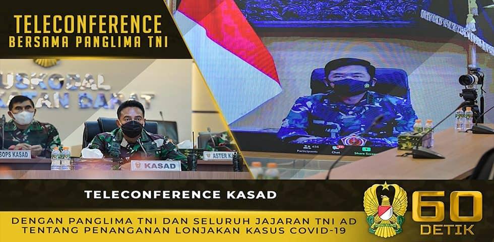 Teleconfrence Kasad dengan Panglima TNI Tentang Penanganan Pandemi Covid-19