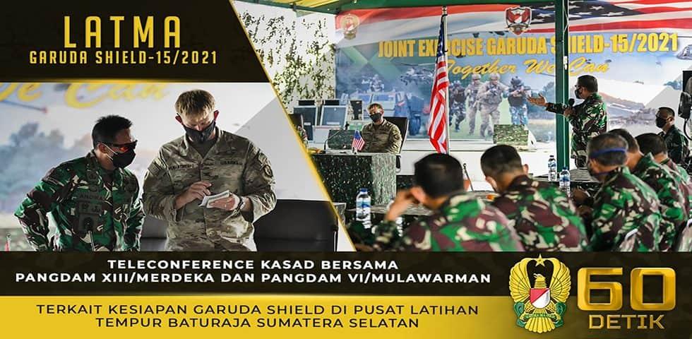 Teleconference Kasad Terkait Kesiapan Garuda Shield di Puslatpur Baturaja, Sumatera Selatan