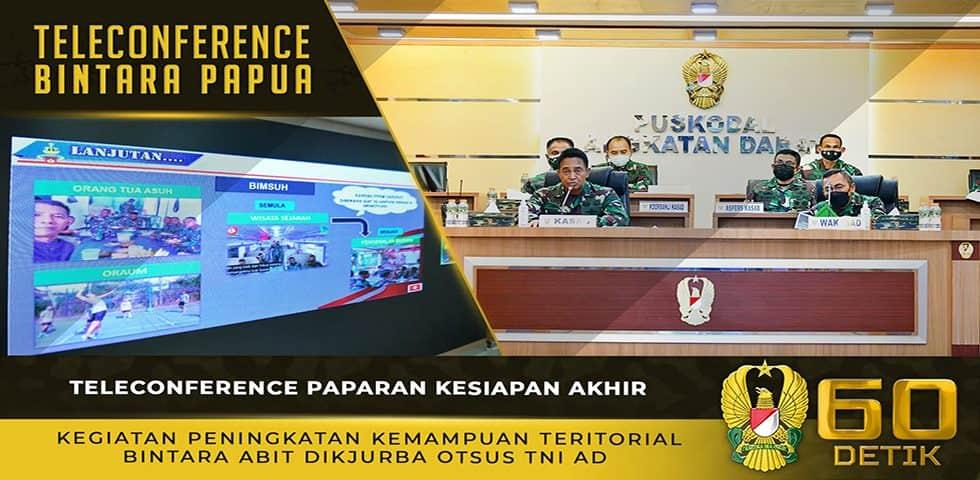Teleconference Paparan Kesiapan Akhir Kegiatan Katpuanter Bintara Abit Dikjurba Otsus TNI AD