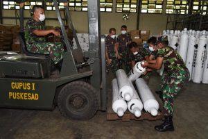 TNI AD Distribusikan Tabung Oksigen ke beberapa RSAD