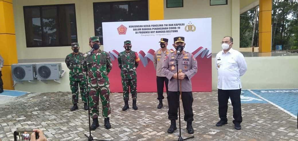 Pangdam II/Sriwijaya Bersama Forkopimda Provinsi Babel Sambut Panglima TNI dan Kapolri Tinjau PPKM