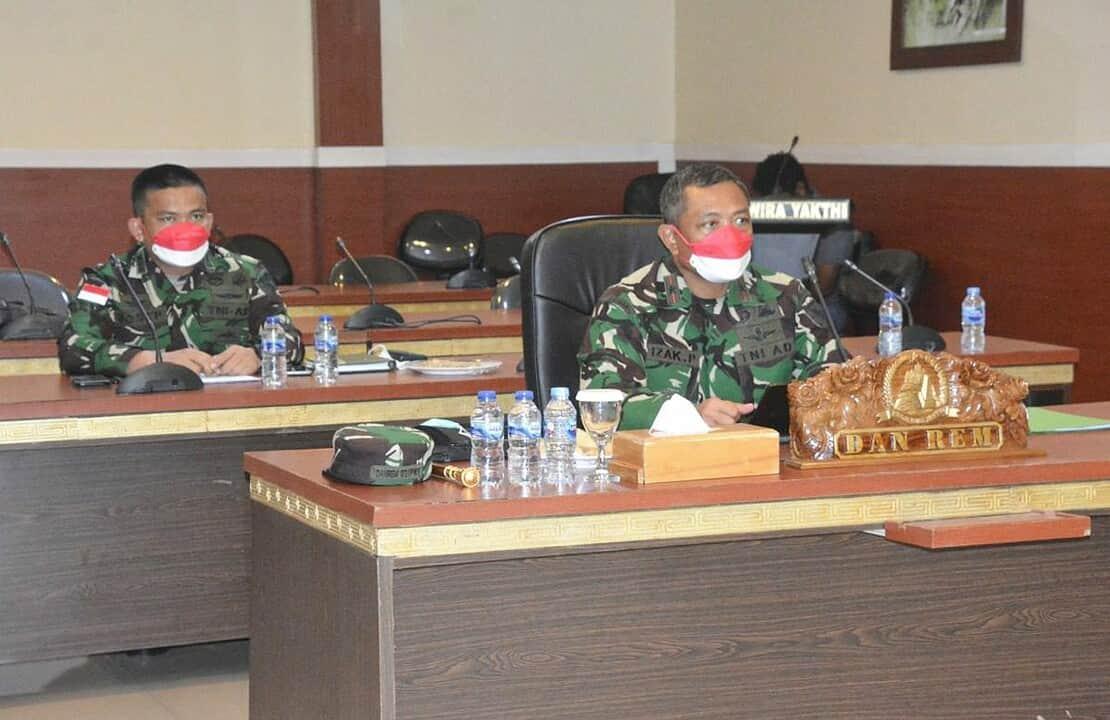 Danrem 172/PWY Ikuti Rakor Evaluasi dan Tindak Lanjut PPKM Level IV Luar Jawa dan Bali