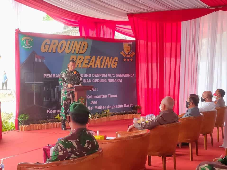 Danpuspomad dan Gubernur Kaltim Hadiri Ground Breaking Pembangunan Denpom VI/1 Samarinda