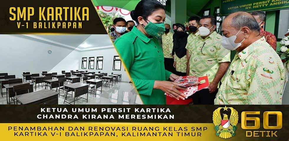 Ketua Umum Persit KCK Meresmikan Penambahan dan Renovasi Ruang Kelas SMP Kartika V-1 Balikpapan