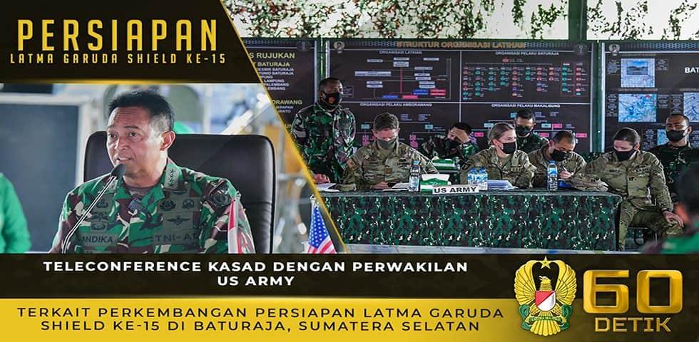 Teleconference Kasad Terkait Perkembangan Persiapan Latma Garuda Shield ke-15 di Baturaja