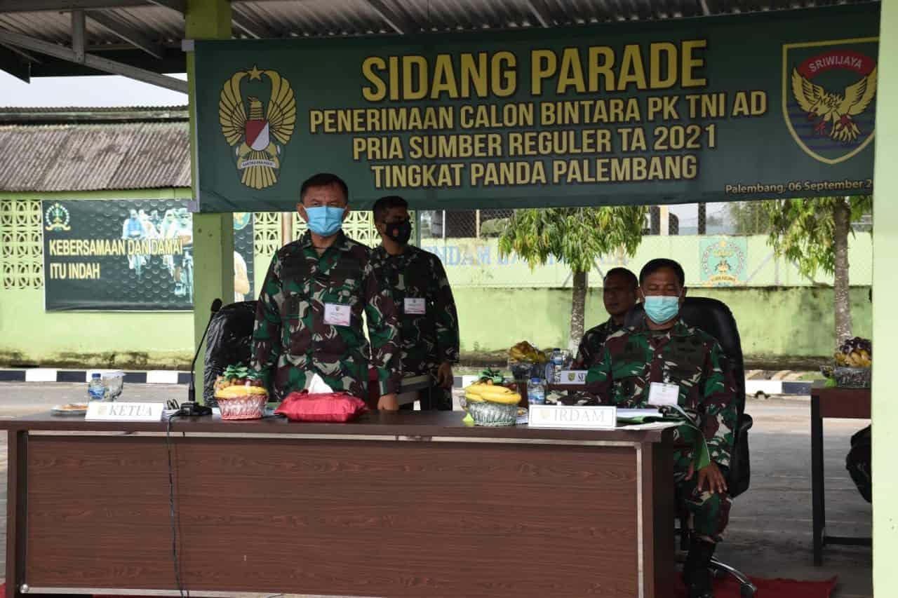 Kasdam II/Sriwijaya Pimpin Sidang Parade Calon Bintara PK TNI AD TA. 2021 Panda Palembang