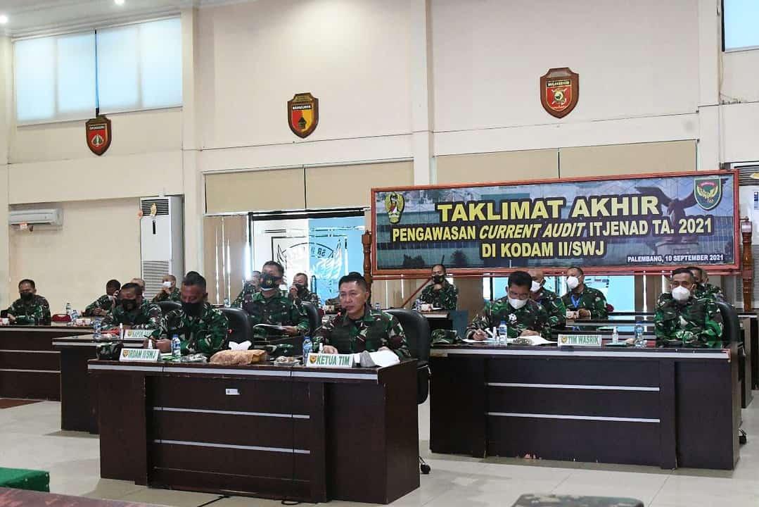 Kasdam II/Sriwijaya Pimpin Taklimat Akhir Current Audit Itjenad TA. 2021