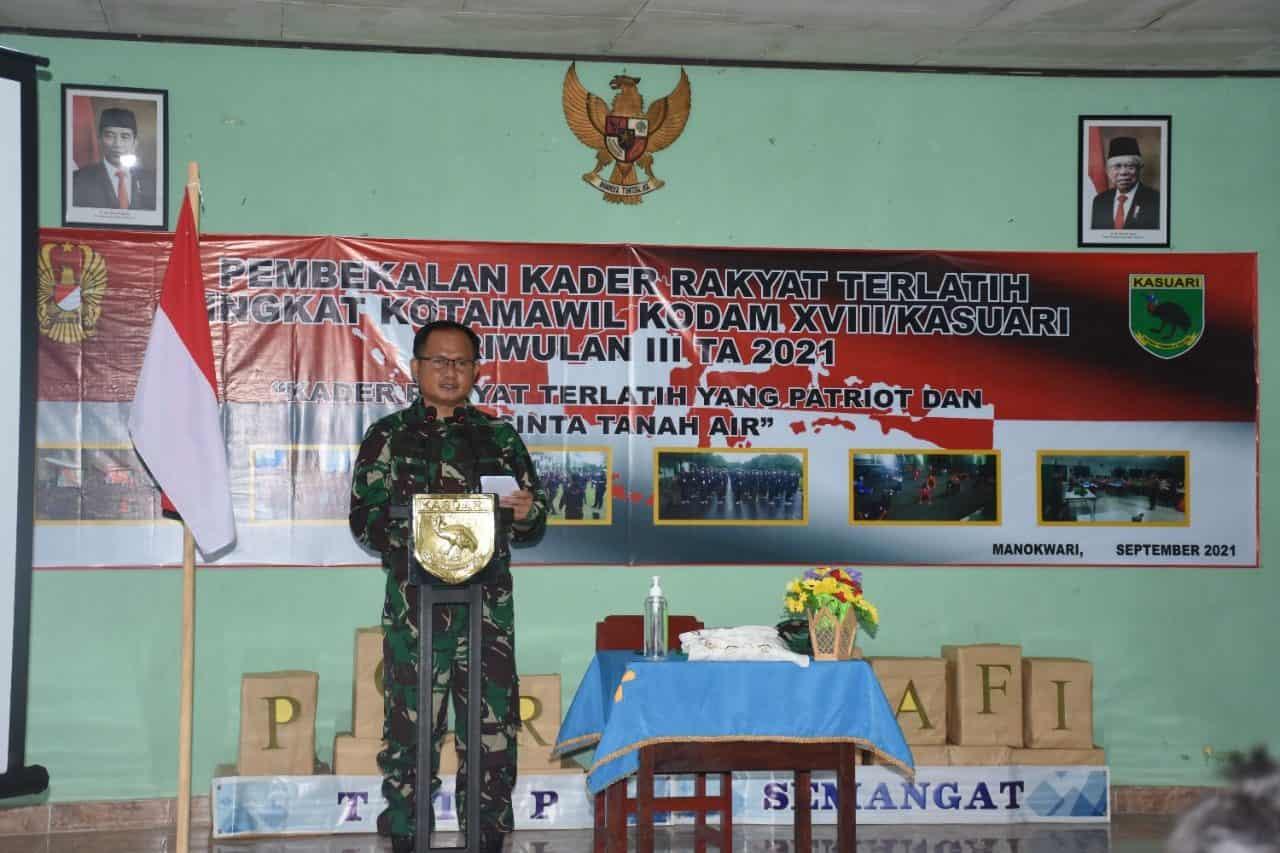 Kodam XVIII/Kasuari Gelar Pembekalan Kader Rakyat Terlatih Tingkat Kotamawil TA. 2021