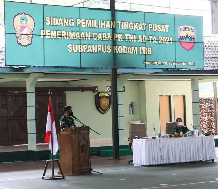 Pangdam I/BB Pimpin Sidang Pantukhir Calon Bintara Prajurit Karier TNI AD Tahun 2021 di Mako Rindam I/BB
