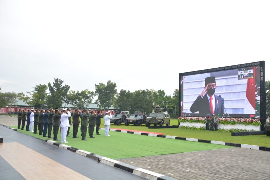 Pangdam I/BB Ikuti Upacara HUT ke-76 TNI Tahun 2021 Secara Virtual