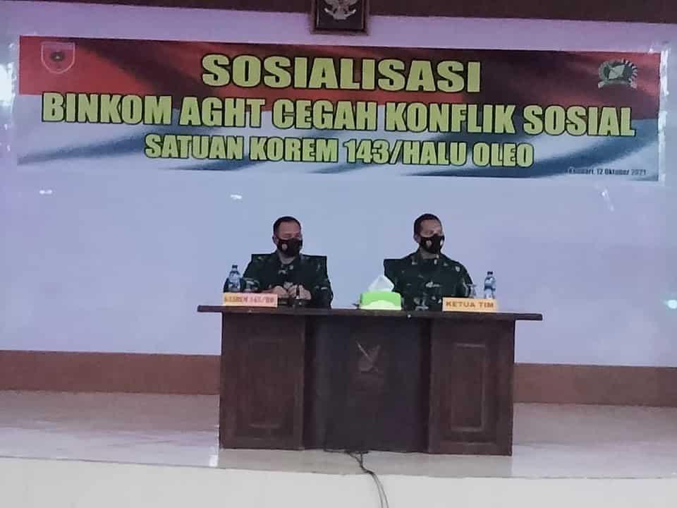 Cegah Konflik Sosial, Korem 143/HO Sosialisasi Binkom AGHT