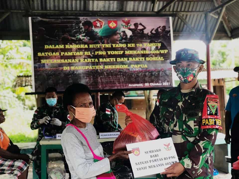 Satgas Yonmek 403 Gelar Baksos di Keerom Papua