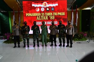 Meriahkan HUT Ke-76 TNI, Altar 89 Gelar Baksos dan Vaksinasi di Makoyonif RK 136/TS